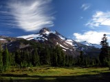 Mt Jefferson crowned with clouds