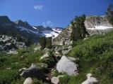 The Muir Trail climbs into upper  Donahue Basin in Yosemite National Park