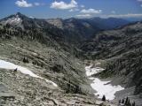 View into Canyon Creek from Grizzly's arete. Kalmia Lake on left ridgetop.