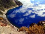 Deep blue waters of Crater Lake, north rim