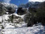 Canyon walls and avalanche chutes