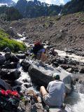 Muddy creek crossing and foot drying