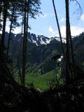 Muddy Creek views of distant waterfalls