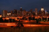 Denver skyline at twilight