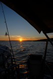 Sun Setting While Sailing