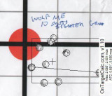 WolfME 22LR 10 shot sighter group at 100yds from bench