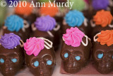 Rows of chocolate skulls