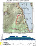Cedar Mtn. Area  Hike on Topographical Map