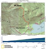Track to Peak on Topographical Map
