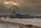 windy day behind the new sea defense blackpool