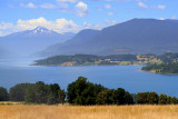 Lago Panguipulli and Choshuenco volcano in the back