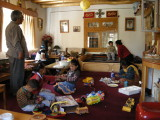 Lunch commotion at Morup Namgyal's home.
