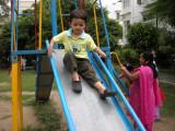 The  bigger park has a slide!