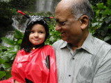 With Nanu at a waterfall in a Bird Park aviary.