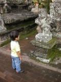 Rahil examining temple statuary.
