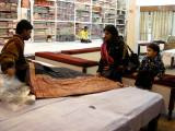 Looking at saris with Mom.