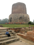 Near the Dhamekh Stupa, which purportedly houses Buddha relics.  It marks the spot where Buddha preached his first sermon.