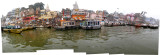 Panoramic view of Varansai ghats from the river.
