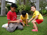 Hunting for ladybugs with the big kids