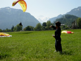 Watching the paragliders arrive with Jungfrau in the background.