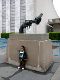 A gift from the people of Luxembourg:  Non Violence, by Carl Fredrik Reuterswärd.