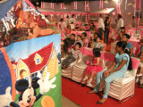 Watching the birthday party puppet show at Delhi Gymkhana