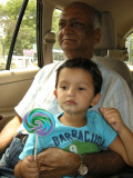 With beloved Nanu and lollipop on the way back home.