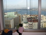 View of the Bosphorus from room 1217 of the Marmara Hotel.