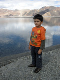 On the shore of Pangong Tso.