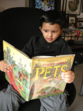 Rahil reading Arnold Roth's Comick Book of Pets