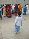 Watching devotees at the Meenakshi Temple