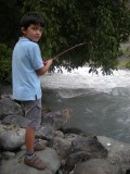 Trying his luck on the unfishable Sindh River, near Sonamarg
