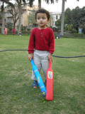 Looks like a budding batsman....