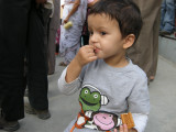 Munching a biscuit at the Wagah border