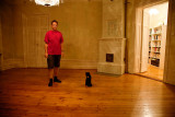 The cat and I in an empty room