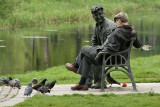 Brendan Behan and friend, by the Royal Canal