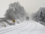 Train in snow near Maynooth