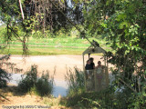 Ashley and Katie riding in the cable car across the Limpopo River from SA into Botswana
