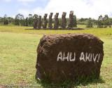 Ahu Akivi moai, the only moai to face the sea