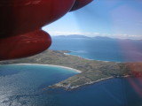 From the small plane. The islands are beautiful from the air.