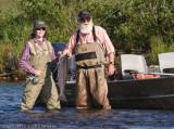 Bears are fishing for salmon and so are people. This is Lindsey and her guide Peter.