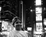 Times Square Jessica in lights bw