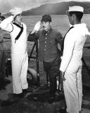 Commander Imagawa coming aboard to surrender Rota Island