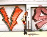Skating near graffiti