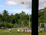 A helicopter arrives