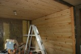 Knotty Pine Going Up in the Kitchen