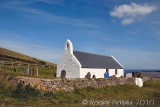Mwnt Church recently whitewashed.