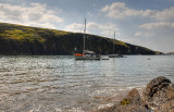Yachts in Mwnt Bay.