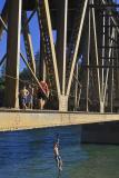 swimmers on UPRR bridge over lake shasta