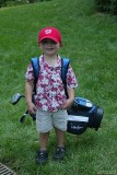 Drew with his new golf clubs!